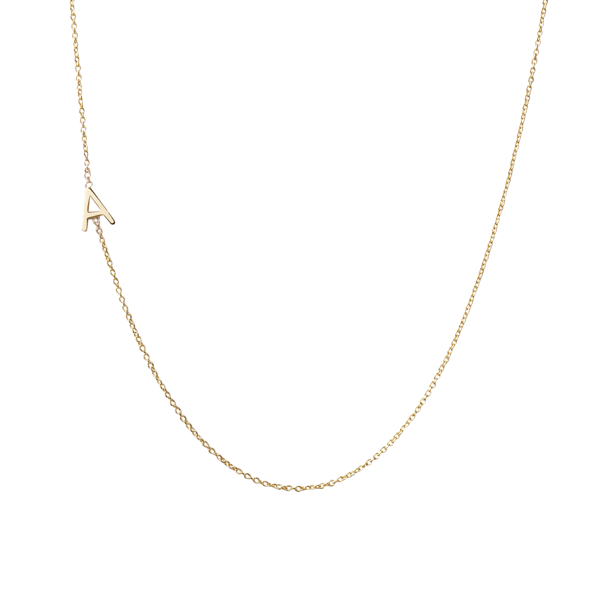 Mini Initial Necklace With 1 Initial In Solid Gold The