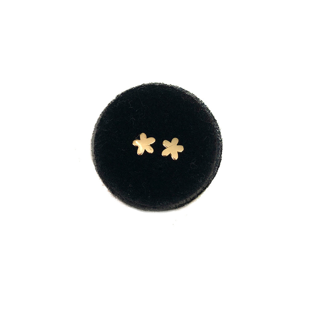 SOLID GOLD MINI BABY FLOWER STUDS- AVAILABLE IN YELLOW OR WHITE GOLD