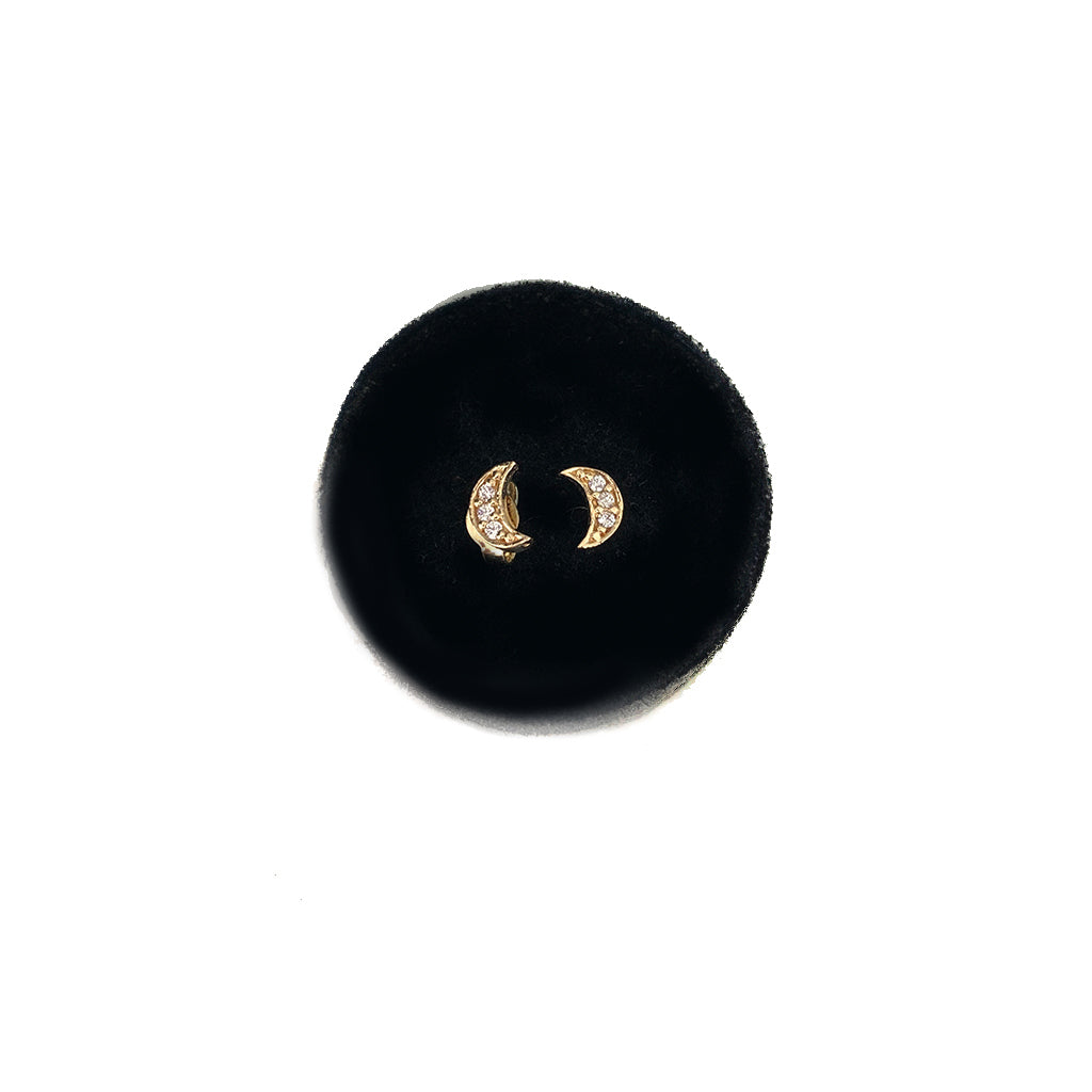 Moon Studs - Small Size with CZ or Diamonds - Solid Gold