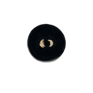 Moon Studs - Mini Size with CZ or Diamonds - Solid Gold