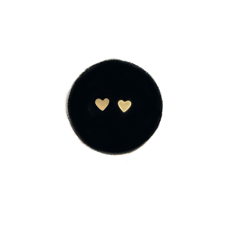 Mini Heart Studs - Solid Gold
