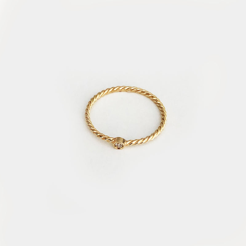 Plain Circle with Diamond - Solid Yellow Gold