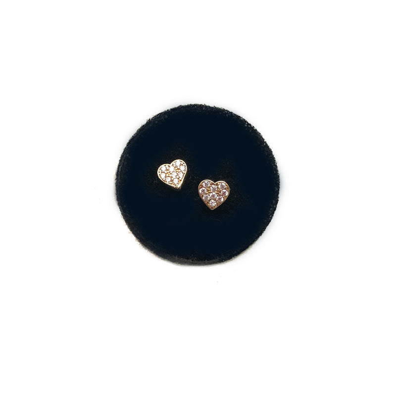 Heart Studs- Small Pavee hearts with CZ or Diamonds - Solid Gold