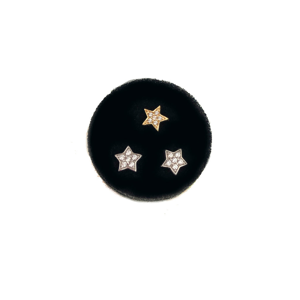 Pavee Star Studs - Available In Solid Yellow Or White Gold With CZ Stones Or Diamonds