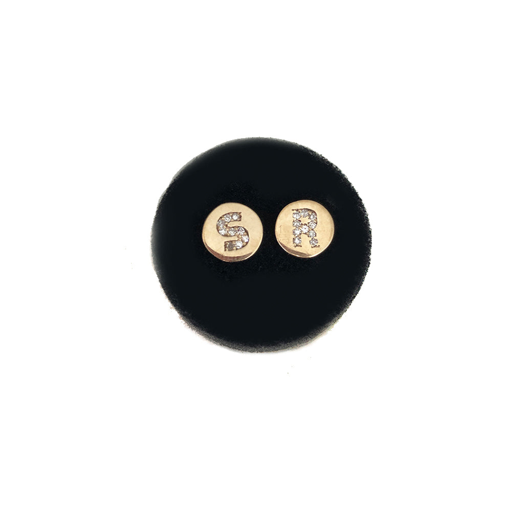 Mini Diamond Disc Initial Studs - Available In Solid Yellow Or White Gold- In The Notes Please Include Which Initials You Would Like- Sold Individual Or As A Pair