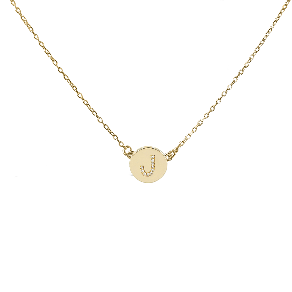 Mini diamond initial disc necklace solid yellow gold the right mini diamond initial disc necklace solid yellow gold mozeypictures Image collections