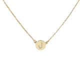 Mini diamond initial disc necklace- solid yellow gold