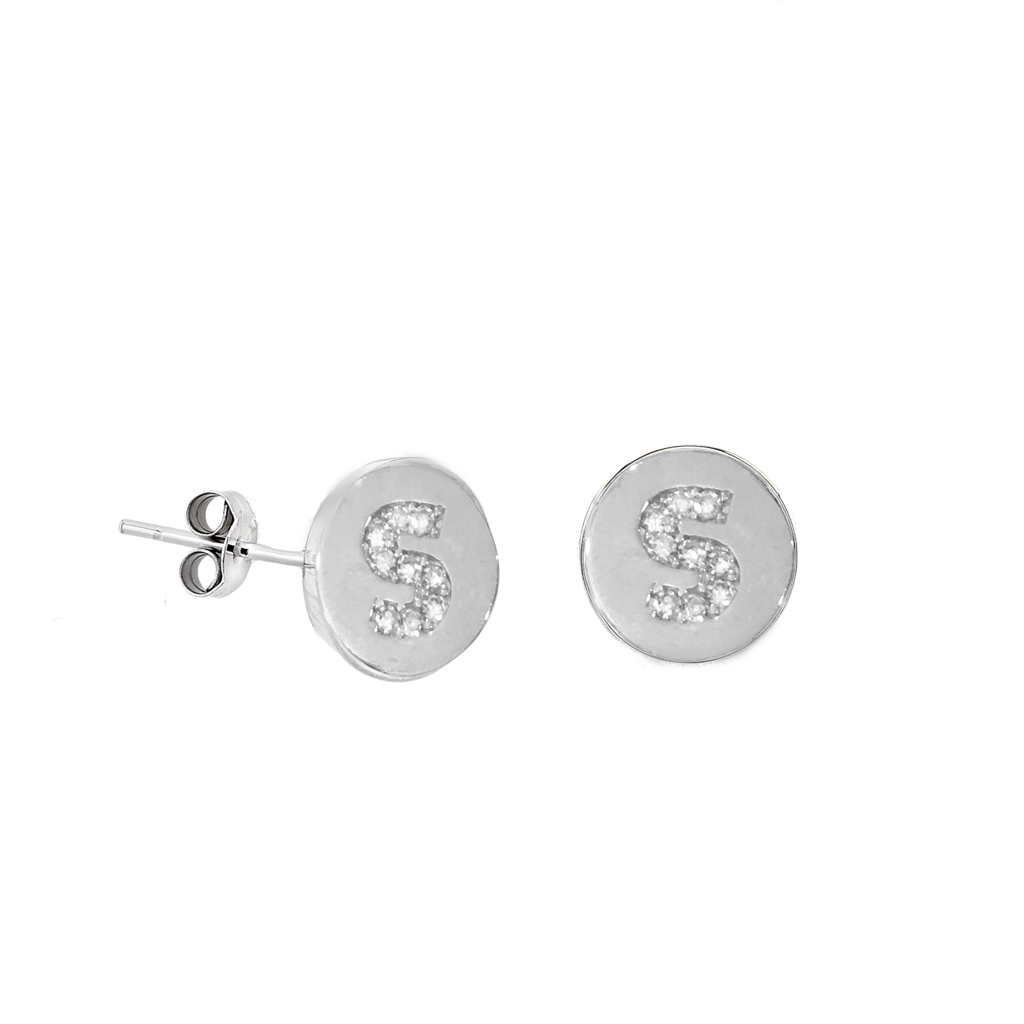 Mini diamond disc initial studs - sold individually - solid white gold- IN THE NOTES PLEASE INCLUDE WHICH INITIALS YOU WOULD LIKE-SOLD INDIVIDUAL OR AS A PAIR
