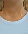 Asymmetrical Diamond Initial Necklace - Solid Gold
