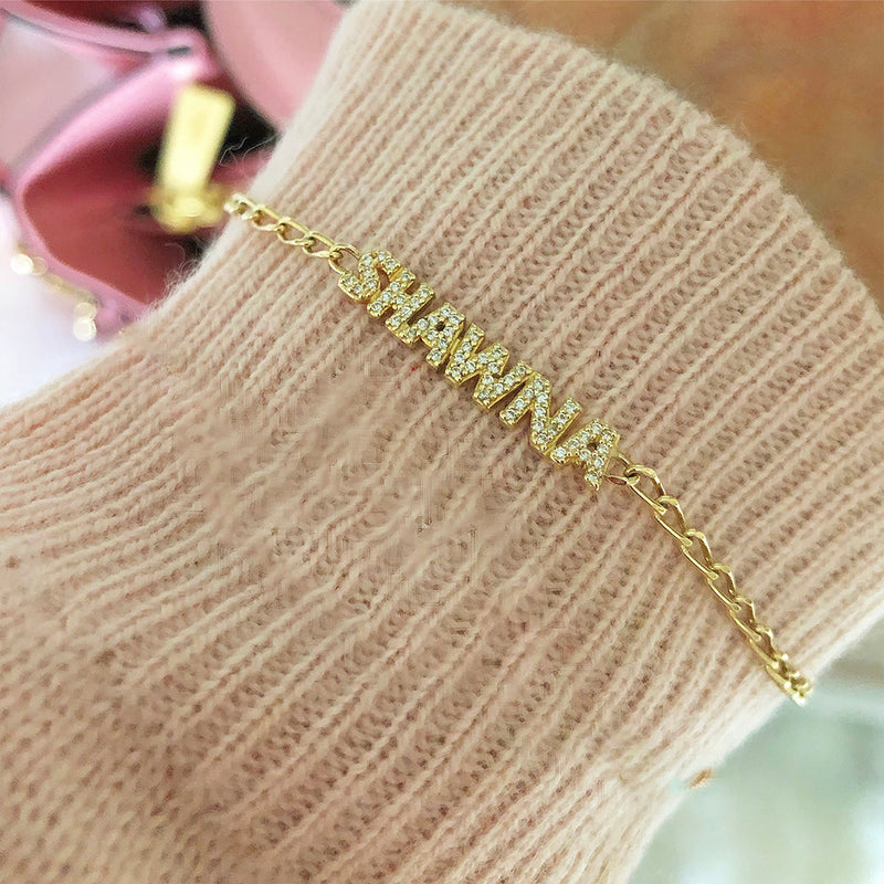 Diamond Name Bracelet - Comes In Solid Yellow Or White Gold