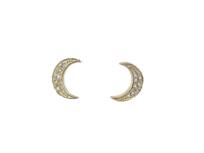 Diamond Moon studs - Solid Gold