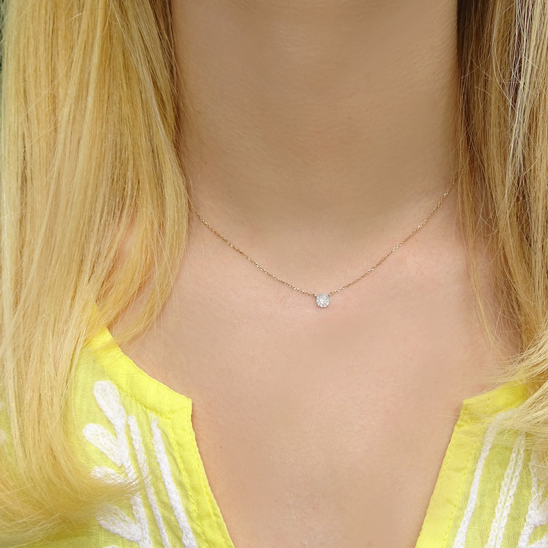 Tiny Diamond Disc Necklace - Solid Gold