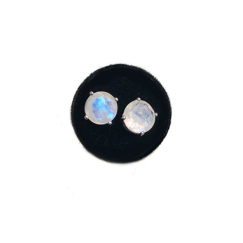 Large Moonstone Studs In 18K Yellow Gold Vermeil, British Sterling, Solid Yellow Or White Gold