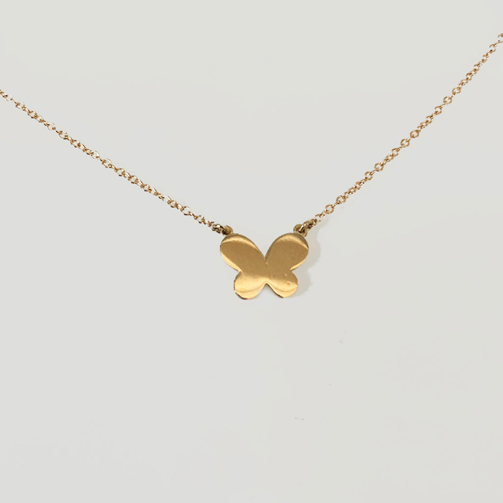 SOLID GOLD SINGLE BUTTERFLY NECKLACE