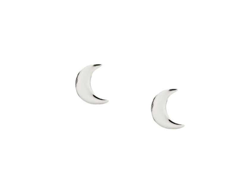 Simple Moon Earrings - Solid White Gold