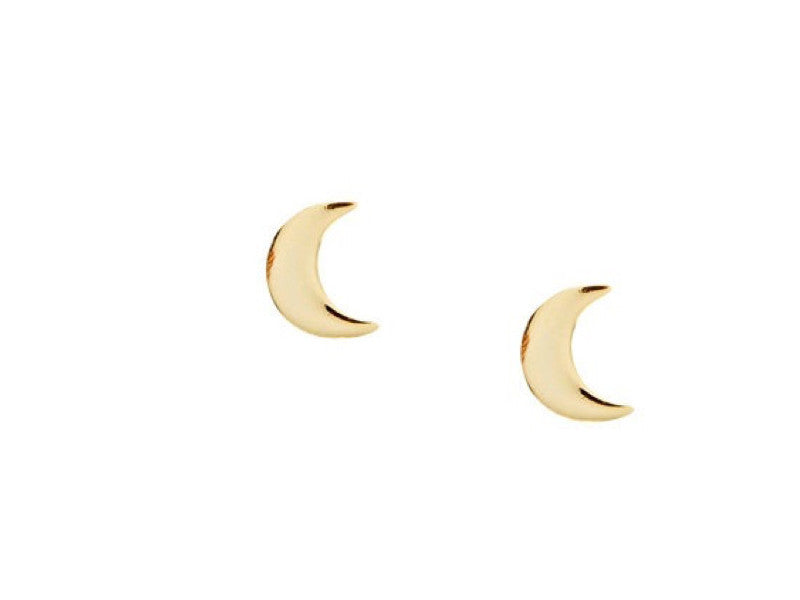 Simple Moon Earrings - Yellow Gold