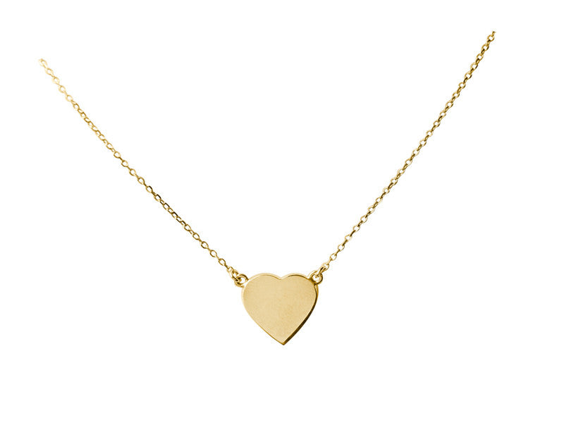 A Simple Heart Necklace - Solid Yellow, White or Pink Gold