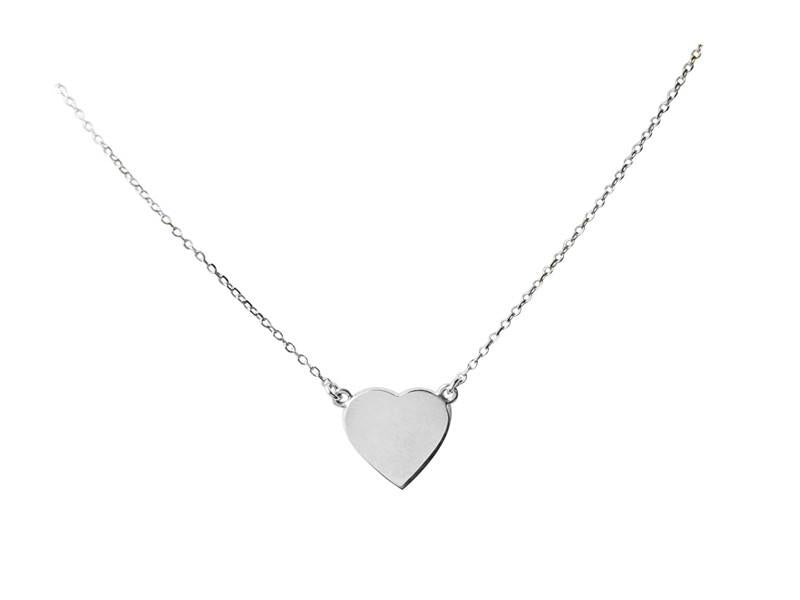 "A ""Simple Heart"" Necklace - Solid White Gold"
