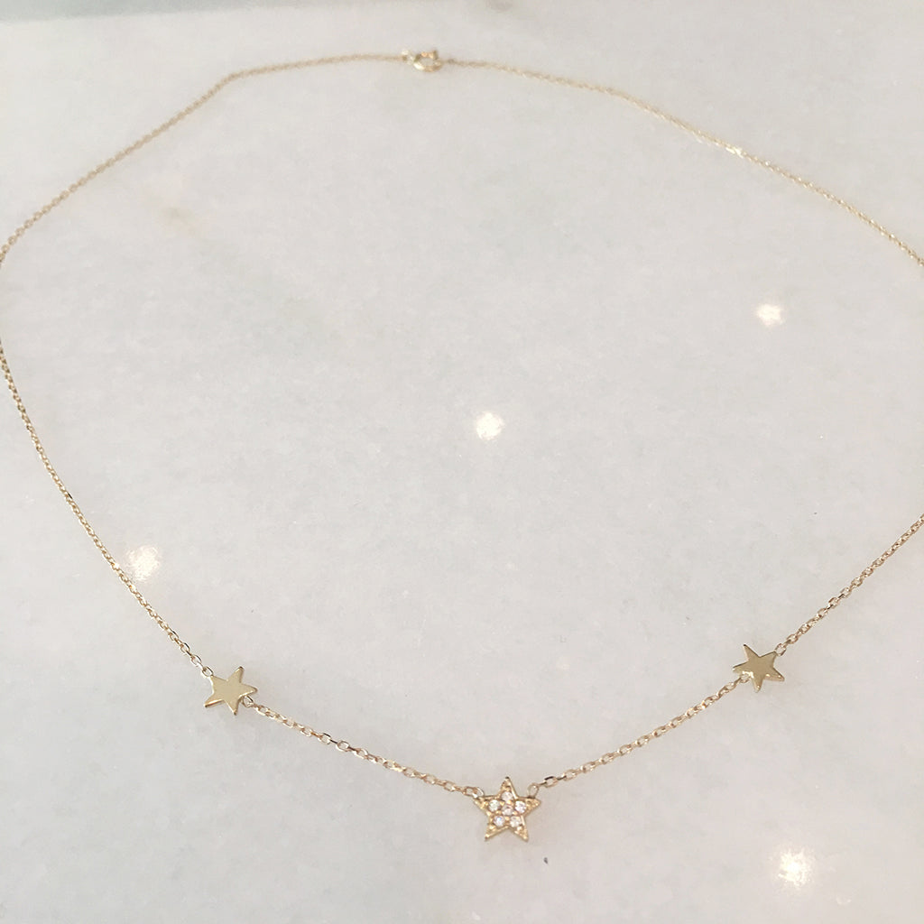 3 Stars Necklace with One Pavee Topaz Star - Solid Gold