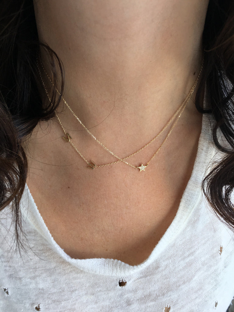Mini Initial Necklace -  With Five Or More Initials - Solid  Gold