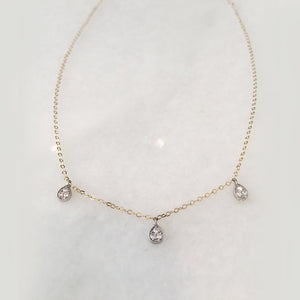3 Tears Of Joy Necklace - Solid Gold & Sterling