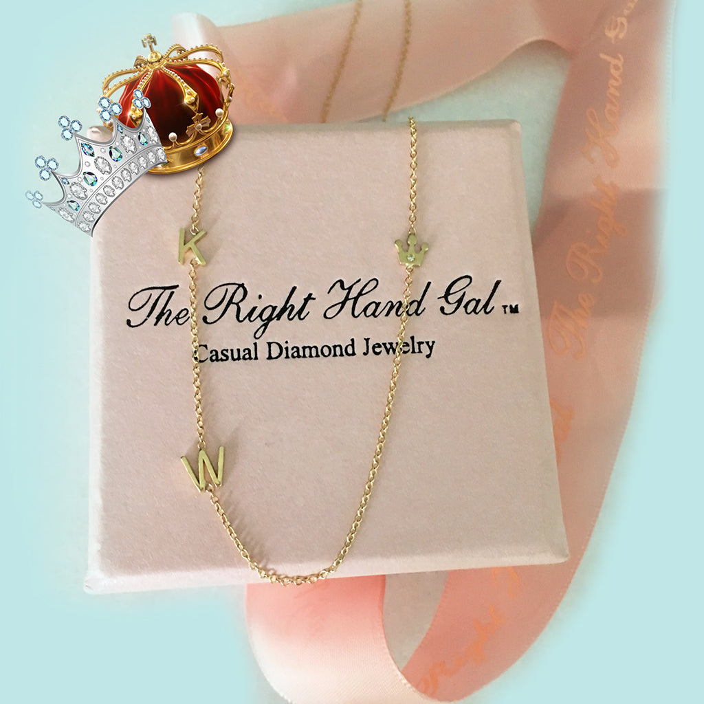 The crown jewel necklace in honor of  Princess Kate! Email us to let us know which initials you desire!