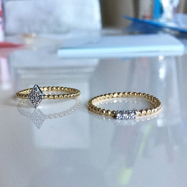 Bubble Diamond Stacks In Solid Gold - Bar Or Diamond Shaped