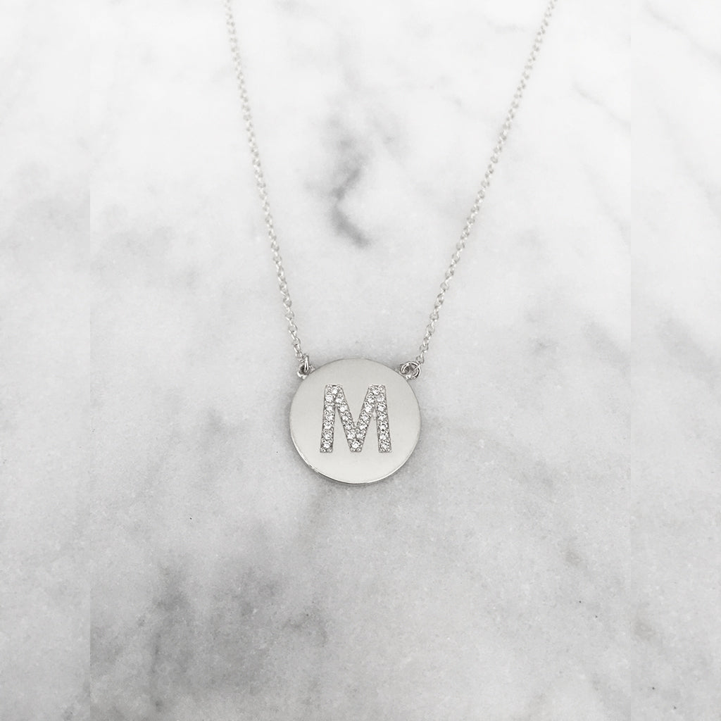 Medium Size Diamond Initial Disc Necklace - Solid White Gold