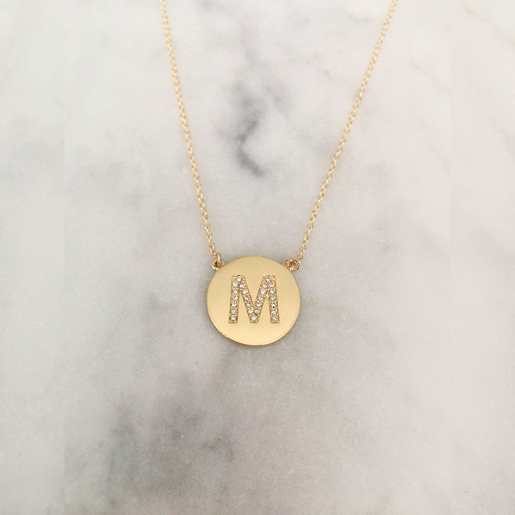 Medium Size Diamond Initial Disc Necklace - Solid Gold
