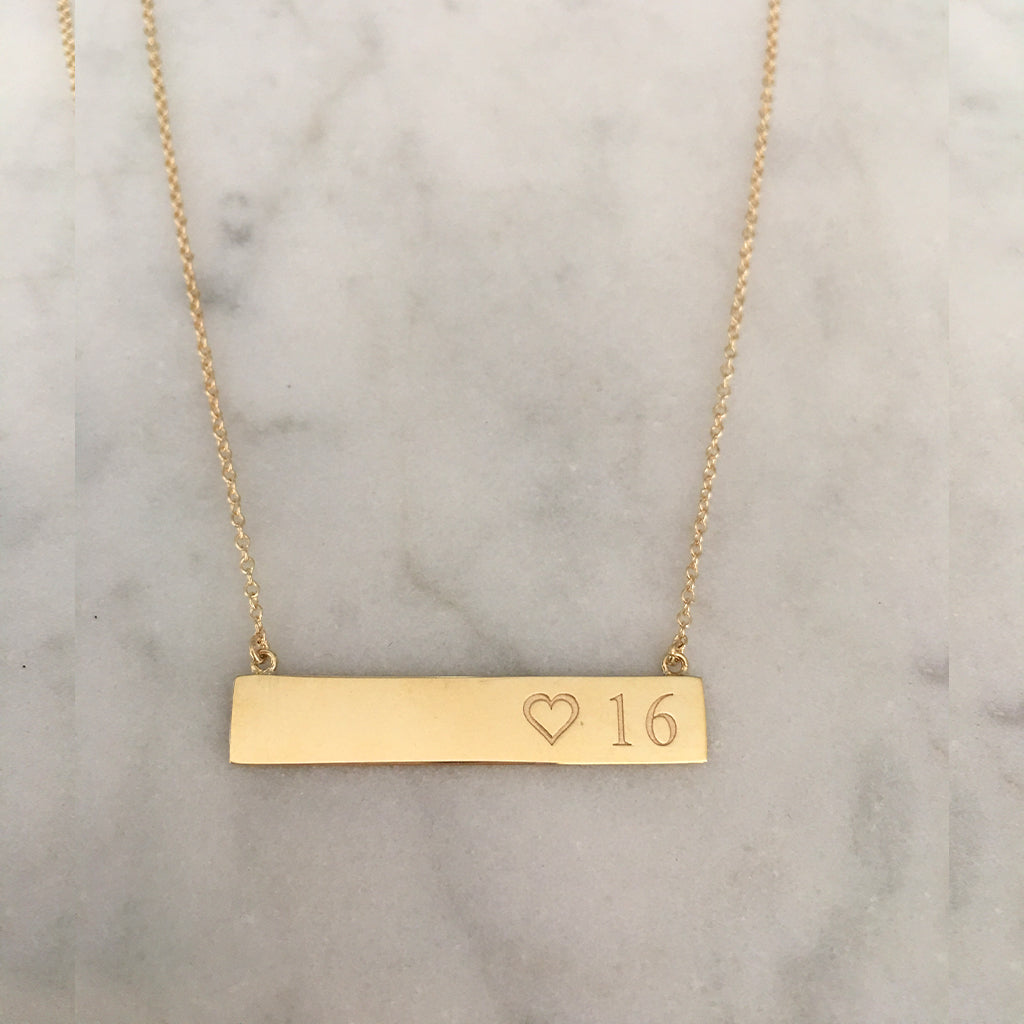 Solid Gold Bar Necklace with your own Special Personalized Message