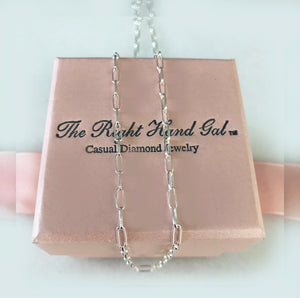 "Open Link Adjustable Chain ""16-20"" For Charm Necklace In British Sterling Silver"