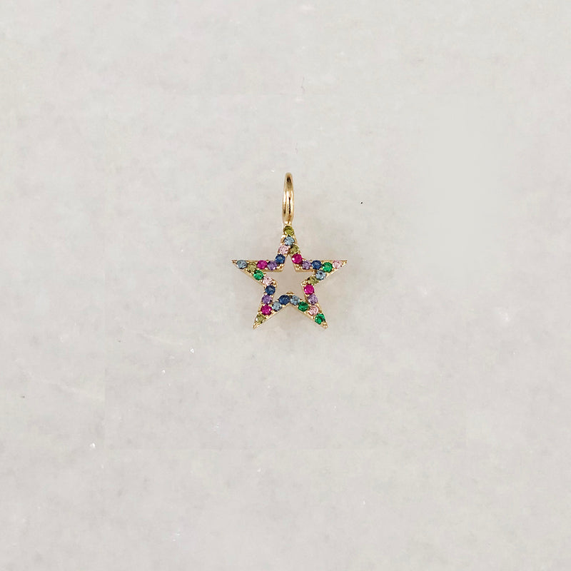 Star Charm With Colourful Created Quartz Stone On Solid Gold- Comes In Yellow Gold, White Gold & Pink Gold