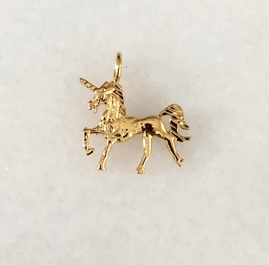 Unicorn Charm In 18K Yellow Gold Vermeil Or British Sterling