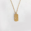 Fly Me To The Moon Dog Tag With An Open Link Chain In 18K Yellow Gold Vermeil Or British Sterling