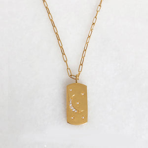 Fly Me To The Moon Dog Tag with an Open Link Chain - 18K Yellow Gold Vermeil or British Sterling