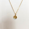 Lucky Evil Eye Coin Necklace - 18K Yellow Gold Vermeil or British Sterling with a CZ Stone