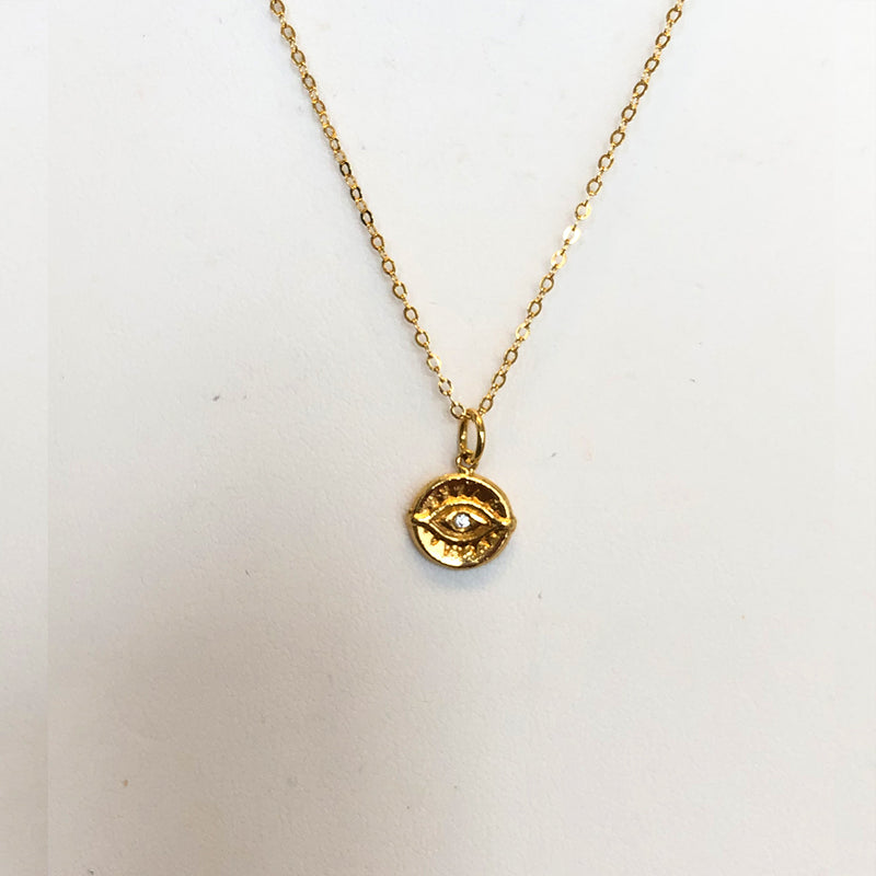 Lucky Evil Eye Coin Necklace In 18K Yellow Gold Vermeil Or British Sterling With A CZ Stone