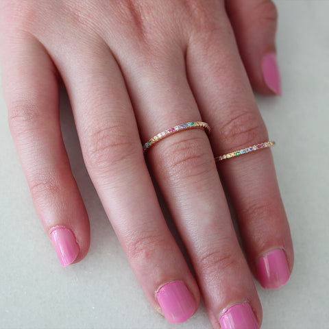 BRAND NEW colorful bliss- fun stacking rings in pink sterling silver and micro pave rainbow cz