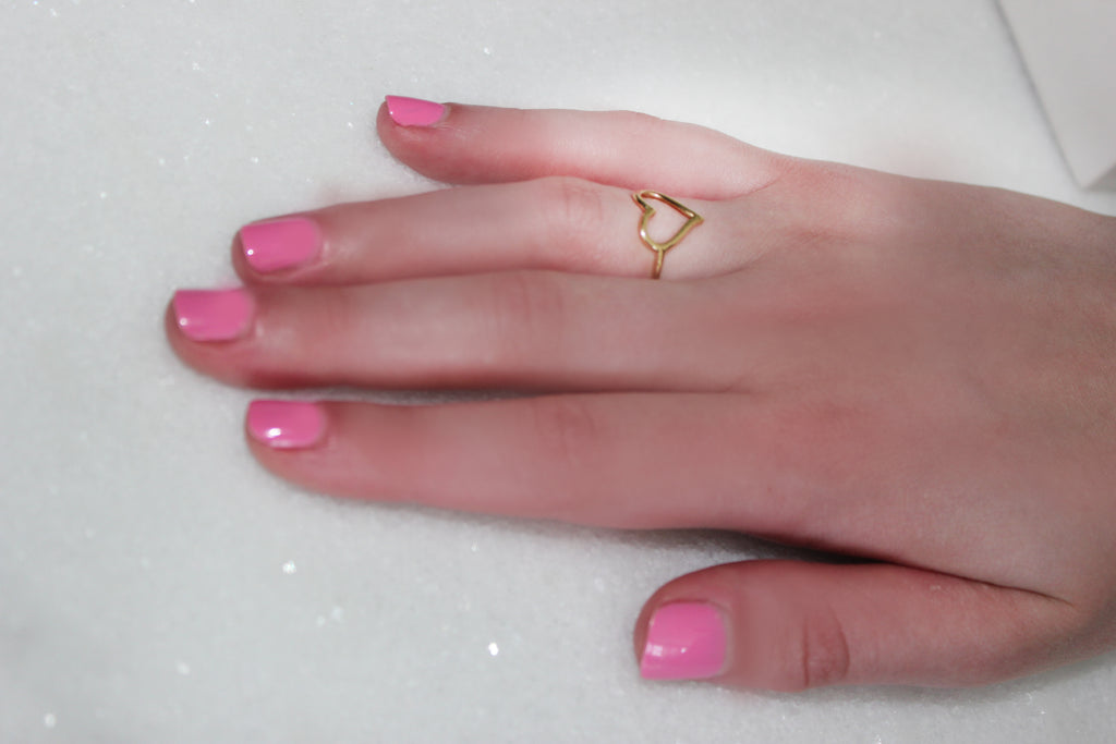 """A Heart Of Gold"" Stackable Ring - Yellow Gold"