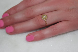 Diamond Disc Initial Ring In Solid Gold
