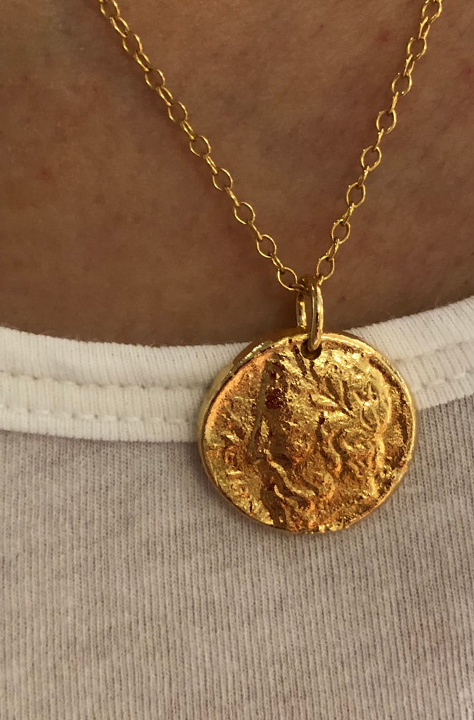 BRAND NEW COIN COLLECTION - 18K GOLD VERMEIL LARGE SIZE COIN ON A PAPERCLIP CHAIN