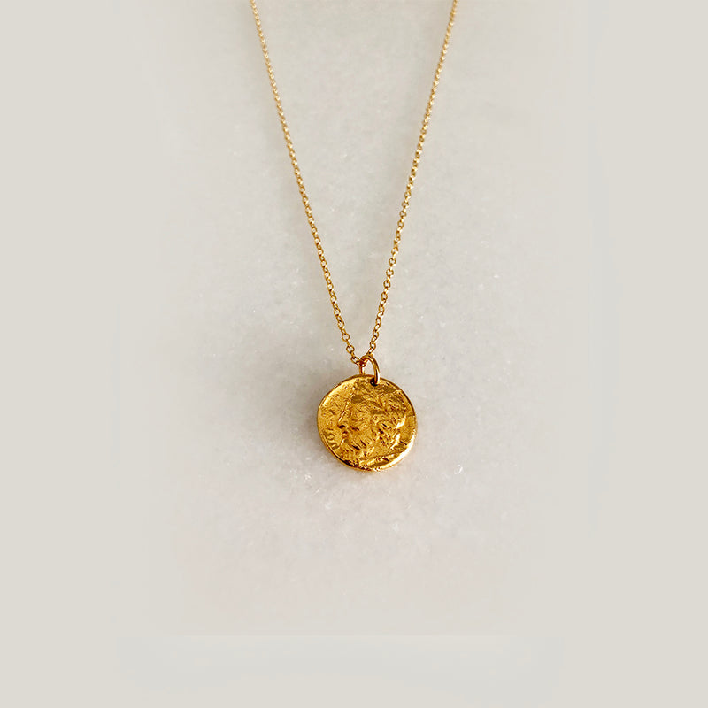 Small Coin Necklace - 18k Yellow Gold Vermeil or British Sterling