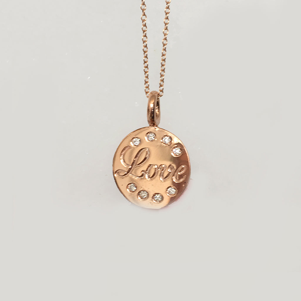 Love Necklace with Diamonds in Pink Gold - Heart Charms Sold Separately