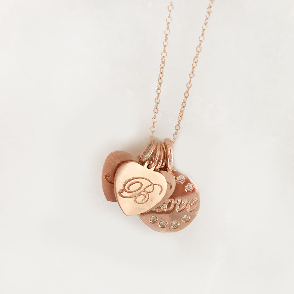 Solid Gold Heart Initial Charms- Each Sold Separately - Comes In Solid Yellow, White & Pink Gold