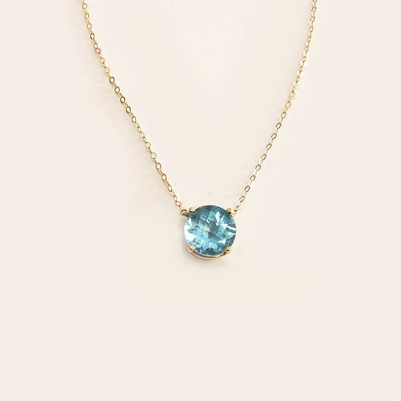 Large Blue Topaz Lollipop Necklace - Solid Gold