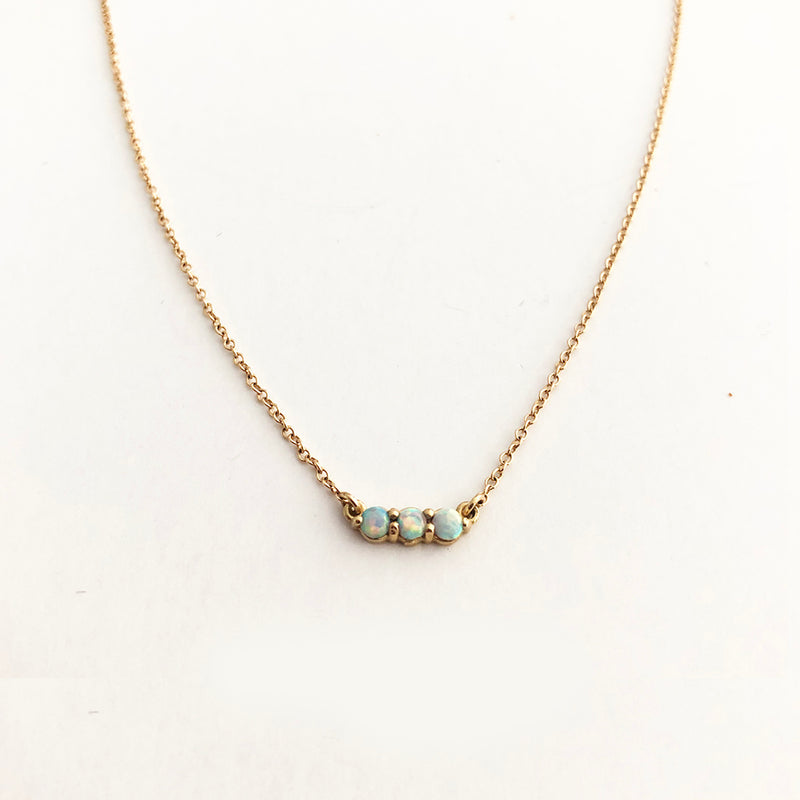 Opal Bar Necklace - Solid Gold