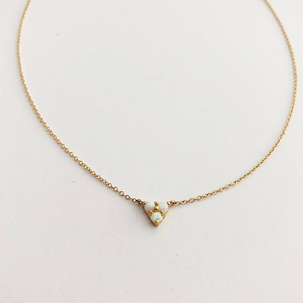 Opal Triangle Necklace In Solid Gold