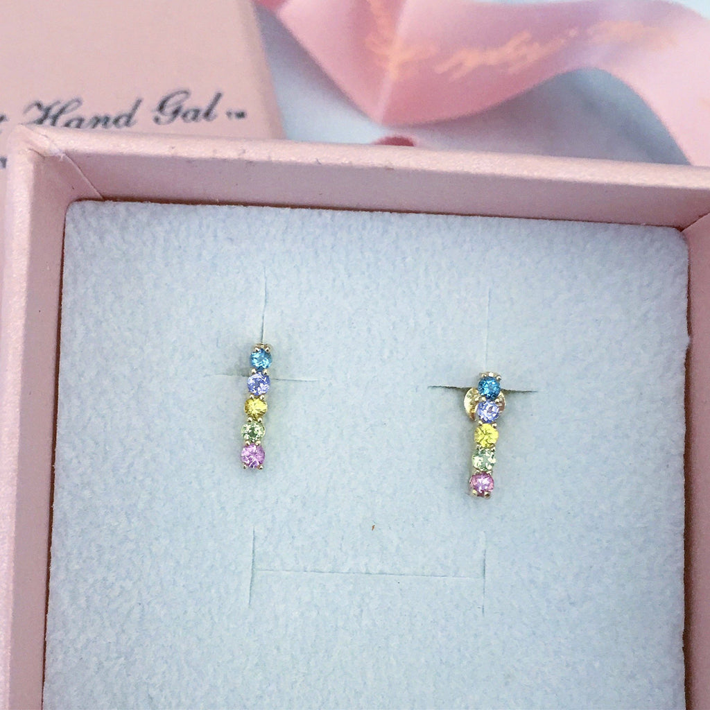 solid gold pastel sapphire five step earrings- each pair is unique so no two pairs are ever the same