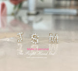 MAKE IT PERSONAL...... MINI INITIAL STUDS EACH SOLD SEPERATELY-  SOLID GOLD DIAMONDS OR WHITE ZIRCON- AFTER ORDERING PLEASE EMAIL US AND TELL US WHICH INITIALS YOU WOULD LIKE