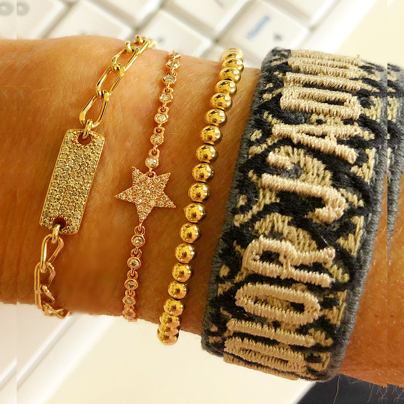 New stack of gorgeousness - star, bar, gold balls, ID bracelet very stunning!!!!!!